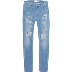 IRO . JEANS Mandy Garcon Bleached Blue // Destroyed boyfriend jeans (2.440 NOK) ❤ liked on Polyvore featuring jeans, boyfriend crop jeans, low rise jeans, loose boyfriend jeans, distressed jeans and cropped jeans