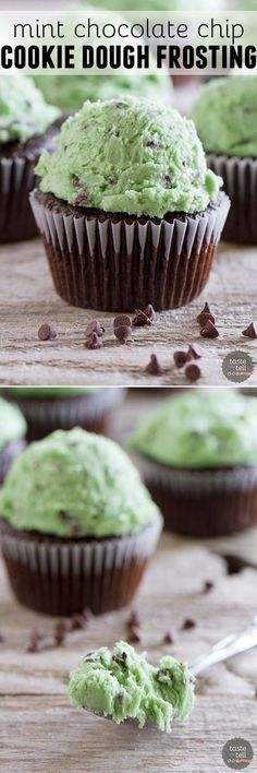 The flavors of mint chocolate chip ice cream meets cookie dough in this delicious frosting that mint lovers will go crazy for. (Chocolate Frosting For Cupcakes) Icing Recipe, Frosting Recipes, Cupcake Recipes, Baking Recipes, Cupcake Cakes, Dessert Recipes, Gourmet Cupcakes, Cupcake Ideas, Brownie Recipes