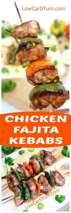 Fire up the grill for these yummy marinated chicken fajita kebabs skewers. You'll love them as a low carb appetizer or meal. Perfect for a summer barbecue! | LowCarbYum.com