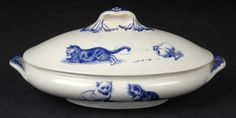 Minton bone china. Cat serving dish with lid, blue on white, ca 1880s. Kingston Lacy, Dorset, England.