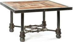 Steampunk furniture made from reclaimed plumbing pipes - http://steamp.co/d/1711 #Steampunk #designer #timber #plumbingpipes #glass #steampunk