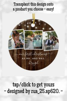 Rustic First Christmas Mr Mrs Photo Collage Lights Ceramic Ornament - tap/click to get yours right now! #CeramicOrnament #rustic, #our #first #christmas #mr