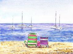 Two Chairs On The Beach' - http://irina-sztukowski.artistwebsites.com/featured/two-chairs-on-the-beach-irina-sztukowski.html #seascape #art #painting #water #homedecor #livingroomdecor #bedroomdecor #interior #shore #beach