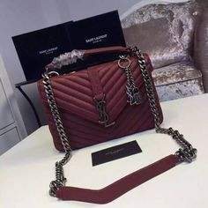 2016 New Saint Laurent Bag Cheap Sale-Saint Laurent Classic Medium COLLEGE  MONOGRAM Bag in Bordeaux MATELASSE Leather d6c3c36437