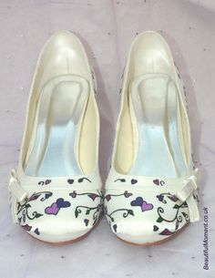hand painted wedding shoes Cadbury Purple Wedding, Painted Shoes, Wedding Shoes, Wedding Dresses, Beautiful Moments, Designer Shoes, Shoe Designs, Hand Painted, Boots