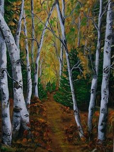 Autumn is such a great time for a hiking a nature trail in the woods. Sharon Duguay's painting leads you mentally into a beautiful Balsam Poplar forest like a magical story.