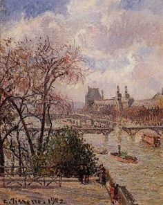 The Louvre, Gray Weather, Afternoon - Camille Pissarro - The Athenaeum