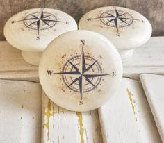 "Handmade Nautical Birch Wood Knob Drawer Pulls, Antique Style Navy Blue Compass Cabinet Pull Handles, 1.5"" Sea Dresser Knobs, Made To Order #knobs #birchwoodknobs #nautical"