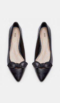 Women's Dark Walnut Leather 1/4 Inch Pointed Toe Flat | Hilary