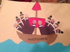 After sharing a Mayflower story, I did this Pilgrim Handprint craft with some of my first graders.  This is the one my four year old girl did-- she did all of the cutting and I guided the glue application.  Pure fun!!