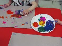 Scrunch Painting - strengthening hand muscles for pre-writing, sensory, colors, art.