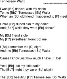 Old time song lyrics with chords for Tennessee Waltz Bb