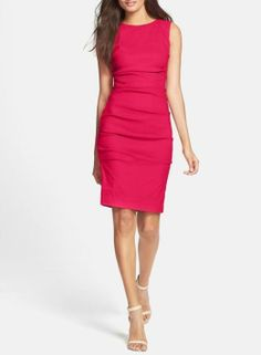 Stretch linen sheath dress.