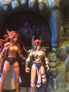 Classic Angela (right,  Spawn, McFarlane Toys) and Marvel's Angela ( left, Marvel Legends, Hasbro)