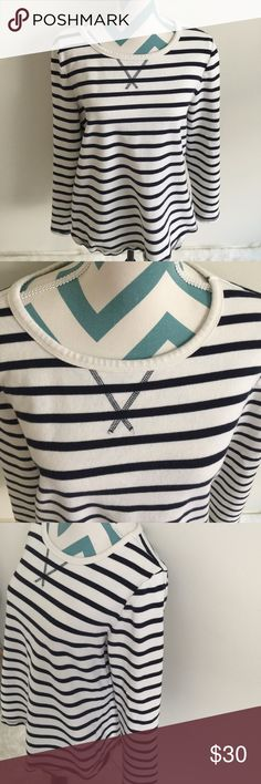 Gap Sweatshirt Gorgeous white and navy blue stripped sweatshirt. Super comfortable and warm material. Made with 100% cotton. Pretty gray patches on elbows. No flaws! GAP Tops Sweatshirts & Hoodies