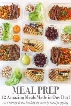 Meal Prep 12 Meals in One Day for the rest of the week. I made this meal plan for hubby and I. There's about 9 different recipe ideas to choose from.