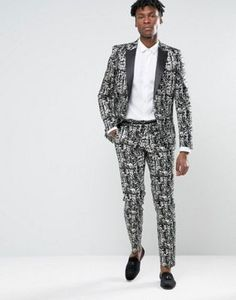 ASOS SKINNY SUIT IN BLACK AND WHITE DESIGN #fashion #stylish #newtrend #shoptagr