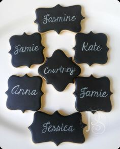 Chalkboard-Effect Personalized Cookies, Edible Place Cards by PumsSweets on Etsy https://www.etsy.com/listing/175702516/chalkboard-effect-personalized-cookies