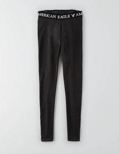 AEO Hi-Rise Signature Legging, Charcoal | American Eagle Outfitters