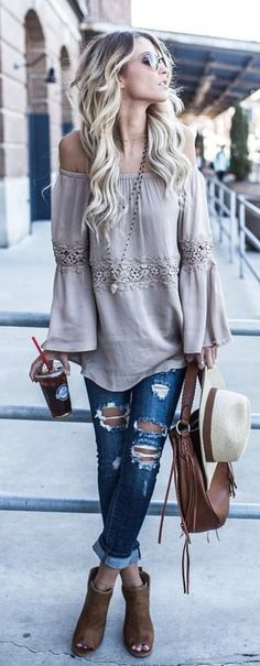 #summer #outfits  Grey Off The Shoulder Blouse + Destroyed Skinny Jeans + Brown Open Toe Booties