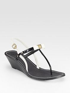 Tory Burch Kailey Leather Wedge Sandals in Royal Tan. I wantttttt