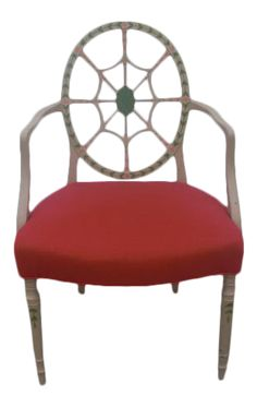 Vintage Decor, Painting On Wood, Side Chairs, Spider, Armchair, Hand Painted, Greenery, 1970s, Red