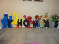 """1 st birthday  Decorations - 3 feet Sesame Street - Wood """"Standees"""" - Photo Props - One Character. $64.99, via Etsy."""
