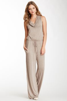 Max Studio Sleeveless Cowl Neck Jumpsuit   Nordstrom Rack.  Combine a big belt and some custom jewelry pieces and your off, looking good and comfortable!