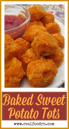 Baked Sweet Potato Tots (gluten-free). Easy to make, and a kid favorite! Double the batch and freeze half so you always have a quick snack or dinner on hand right from the freezer. realfoodrn.com