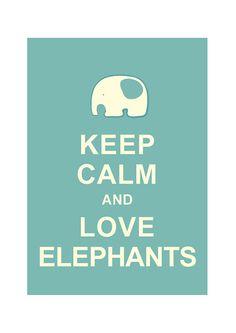 Large 13X19 Keep Calm and Love Elephants : Light Teal Personalized custom Wedding Birthday Anniversary Gift Children Kids Home Decor via Etsy