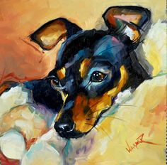 "Reminds me of our sweet Min Pin ""Turbo""! Mini Pinscher, Miniature Pinscher, Animal Paintings, Animal Drawings, Min Pin Dogs, Dachshund, Pin Art, Fox Terrier, Watercolor Animals"