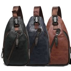 Guys's Leather Sling Pack Chest Shoulder Crossbody Bag Backpack Biker S…: Item details Condition: Brand new with… #Travelgoods #backpack