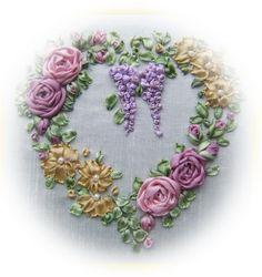 ribbon embroidery designs | Home / LJB - Silk Ribbon Designs / Victorian Roses & Wisteria Heart ...