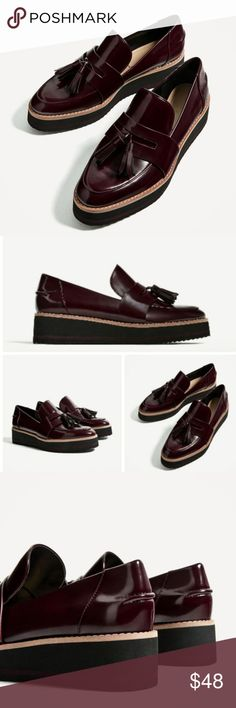 Zara Loafers Burgundy loafer style ..nwt Zara Shoes Flats & Loafers