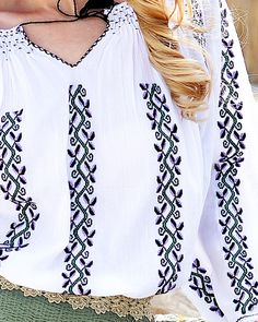 Border Embroidery Designs, Folk Embroidery, Palestinian Embroidery, Pinterest Fashion, Blouse Styles, Pakistani Dresses, Cross Stitch Designs, Stylish Outfits, Spring Fashion