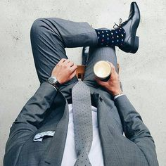 A simple, stylish men's suit is not complete without some equally fahionable men's socks. #DonPabloOnline