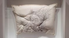It's hard to tell where the portrait ends and the pillow begins in these plush sculptures by Maryam Ashkanian.