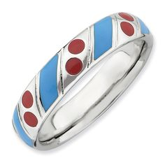 Stackable Expressions Sterling Silver Polished Blue and Red Enameled Ring