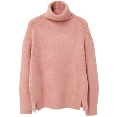 Mango Turtle Neck Jumper, Bubblegum Pink (105 BAM) ❤ liked on Polyvore featuring tops, sweaters, turtle neck sweater, red cable knit sweater, pink turtleneck sweater, cable sweater and side slit sweater