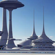 futuristic sci-fi buildings 3d max