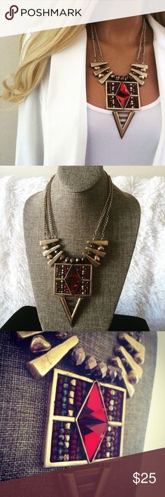 "Red Gold Beaded Jeweled Boho Statement Necklace Drop dead gorgeous Statement Necklace. New in package. Measures 12.5"" L with a 3.5"" extender. Perfect for a Holiday Party 🎅🏻or would make a great gift! 💎 Bundle your Likes for a Private Discount 🎁 Boutique Jewelry Necklaces"