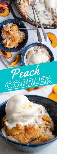 picture of peach cobbler in a pan and bowls with spoons on a table Best Dessert Recipes, Easy Desserts, Sweet Recipes, Dinner Recipes, Buttercream Candy Recipe, Broiled Lobster Tails Recipe, Cake Batter Fudge, Easy Baked Pork Chops, Baked Ranch Chicken
