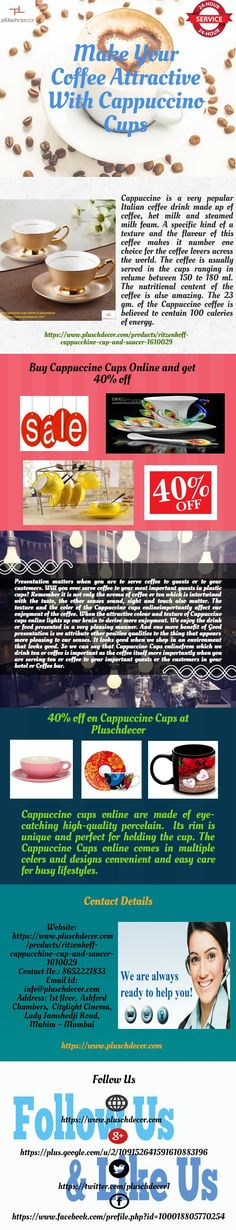 Buy online cappuccino cups online and make your coffee attractive and taste more intense. We are offering the best cappuccino cups at 40% off we have unique design and styles of cappuccino cups so hurry up and shop now cappuccino cups online at Pluschdecor.
