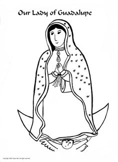 Paper Dali: Our Lady of Guadalupe coloring sheet with a key to the symbols and colors