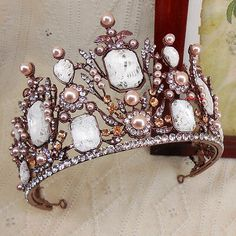 Product Type: Adult Wedding Party Tiara. Gem Type: Czech Crystal. We promise our products are with highest quality and unbelievable low price. We can OEM any style which is you like. The actual item is more beautiful than the pictures. Rose Gold Pearl, Pearl And Lace, Tiaras And Crowns, Prom Party, Main Colors, Bridal Accessories, Branding Design, Christmas Wreaths, Handmade Items
