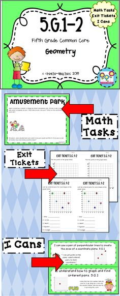 5th grade geometry standards 1-2. Graphing points on a coordinate plane. Math tasks, exit tickets, I cans. $  #coordinateplane #graphing #exittickets