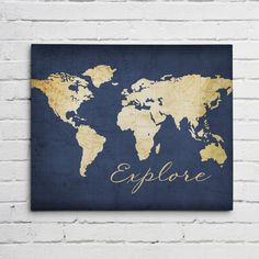 Navy world map wall art canvas world map print in navy blue we love world maps this world map is shown with a vintage map background gumiabroncs Choice Image