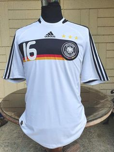 GERMANY 2008 UEFA EURO RUNNERS UP TITLE PHILIPP LAHM 16 HOME JERSEY ADIDAS SHIRT TRIKOT LARGE/ CODE # 613200 Germany Kit, Philipp Lahm, Vintage Jerseys, Adidas Shirt, Runners, Euro, Soccer, Stripes, Mens Tops