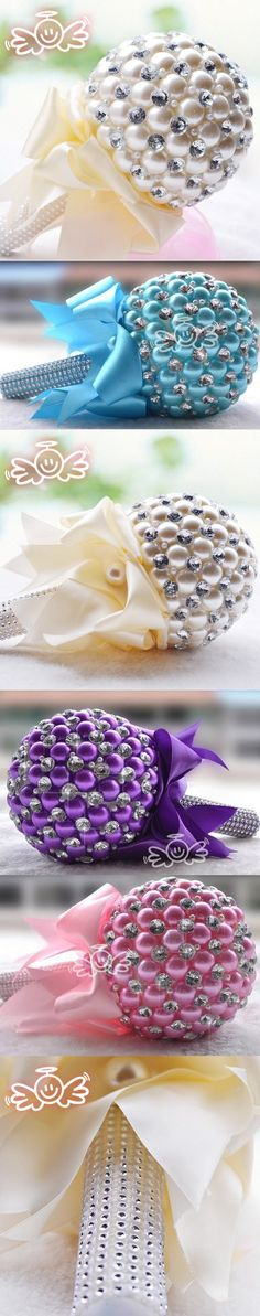 Luxury Wedding Flowers Bridal Bouquets Gorgeous Pearls Bride Bouquet Crystal Sparkle 2015 New buque de noiva