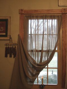 Primitive Oat Panel Curtains x - Like Tobacco Cloth Curtains in Home & Garden, Window Treatments & Hardware, Curtains, Drapes & Valances Primitive Windows, Primitive Curtains, Primitive Bedroom, Primitive Homes, Primitive Kitchen, Country Primitive, Primitive Antiques, Primitive Decor, Cabin Curtains